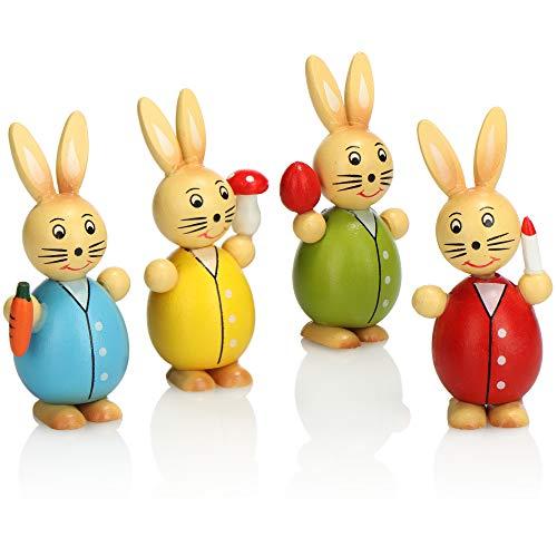 com-four® 4X Deko-Osterhase aus Holz - Deko-Hase in Vier Farben - Dekofiguren zur Osterdekoration - Holzfiguren für Ostern (4X Hase bunt)