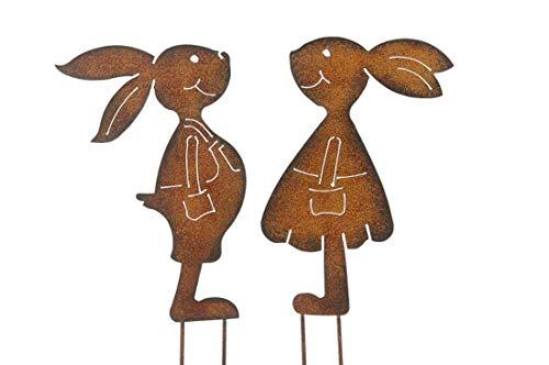Gartenstecker Hasenpaar Mädchen und Junge Rost Design Gartendeko (Gartenstecker)