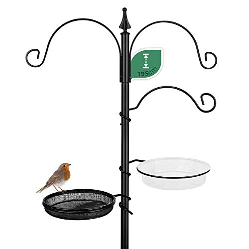 WILDLIFE FRIEND I Futterstation aus wetterfestem Metall - Komplettset inkl. Vogeltränke und Futterteller für Mehlwürmer Körner Erdnüsse, Vogelbad 195cm [Schwarz]