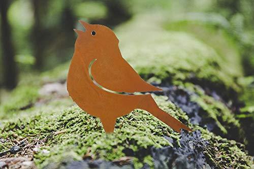 Nostalgic Garden Gartendeko Gartenstecker Vogel zum Stecken Edelrost Baumstamm Rost Deko Design