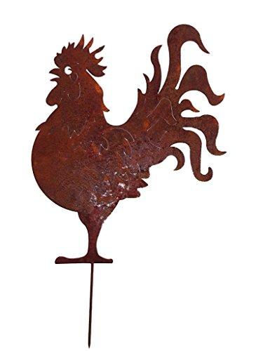 Crispe Gartenstecker Dekoration Edelrost - Hahn - Metall rostige Dekofigur - Höhe 51 cm