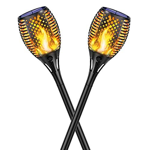 Kinglead Solarleuchte Garten Fackel Flammenlicht Flammen IP65 Gartenleuchten LED Fackel Licht Auto EIN/Aus