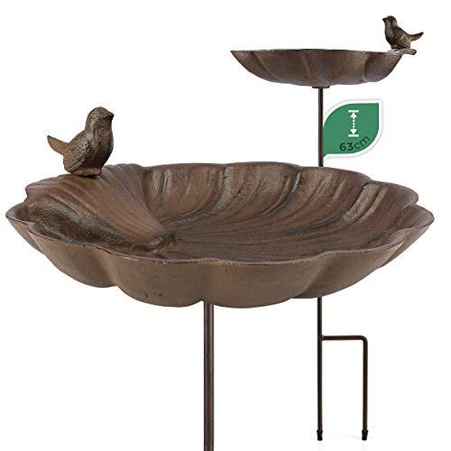 WILDLIFE FRIEND   Vogeltränke aus Gusseisen – Stehend, Frostsicher mit Standfuß I Vogelbad auf Stab, Winterfest – Vogelfutterspender für Garten, Balkon – Große Wasserschale
