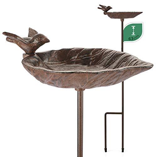 WILDLIFE FRIEND   Vogeltränke stehend, Vogeltränke Garten auf Stab - L 19cm x H 63cm I Vogelbad frostsicher aus Gusseisen, Vogelfutterspender Balkon - Wasserschale Blattform