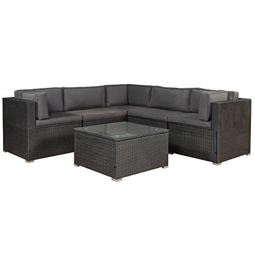 ArtLife Polyrattan Lounge Nassau wetterfest – Gartenmöbel Set mit Ecksofa, Tisch & Auflagen - Gartenlounge für 5 Personen – Sitzgruppe Schwarz-Grau