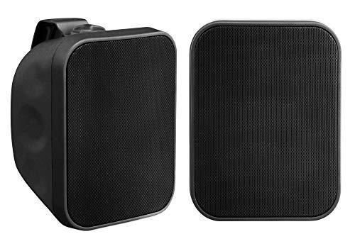 Paar Pronomic OLS-5 BK DJ PA Outdoor-Lautsprecher für Garten, Terrasse, Restaurant (2X 80 Watt, Schutzart IP56, 8 Ohm, 5,25' Woofer) schwarz