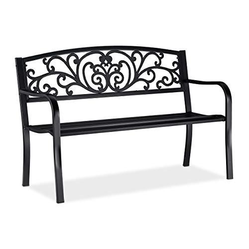 Relaxdays Gartenbank, bequemer 2-Sitzer, mit Vintage-Ornamenten, für Terrasse, Balkon, HxBxT 86,5 x 127 x 60 cm, schwarz