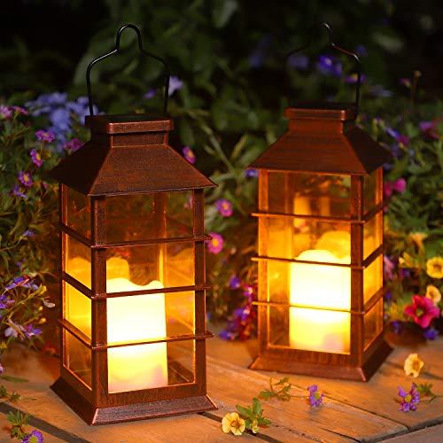 Outdoor Solar Laterne, 2 Stück Garten Hängend Solarleuchte mit Deko-Kerze Solarlampen für Außen Wasserdicht Kunststoff Dekorative LED Laterne für Terrasse Veranda Hof Weihnachten (Bronze)
