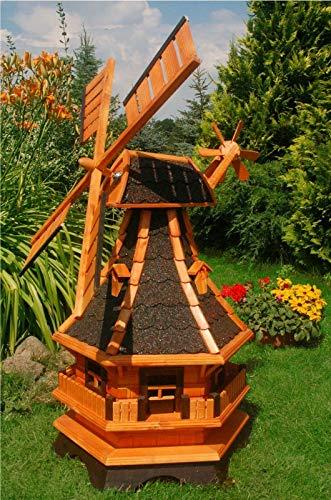 XXL Premium LED Solar Windmühle Holz 130cm kugelgelagert Garten Deko 1,3m