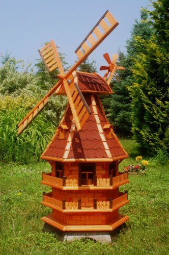 Deko-Shop-Hannusch XXL Windmühle, Gartenwindmühle, Windmühlen aus Holz, Beleuchtung Solar kugelgelagert 1,50m imprägniert (rot)