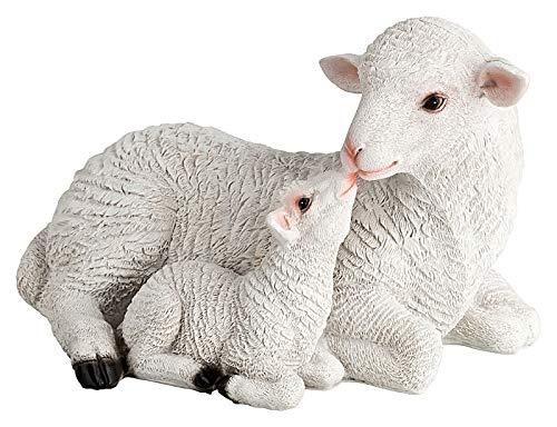Schaf Figur mit Lamm, Dekofigur aus Kunstharz, wetterfest - Outdoor Deko Tier Figur für den Garten - Schafe Figuren