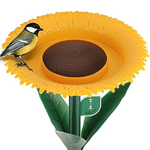 WILDLIFE FRIEND I Trink und Futterblume, Vogeltränke stehend für Wildvögel 60cm I Vogelfutterspender mit Ständer, Vogelfutterstation, Futterspender für Vögel im Garten
