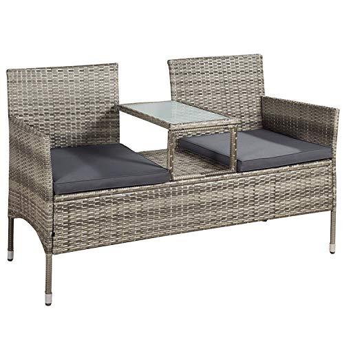 ArtLife Polyrattan Gartenbank Monaco grau-meliert - 2-Sitzer Bank mit integriertem Tisch & Kissen in Grau - 133 × 63 × 84 cm - Sitzbank wetterfest