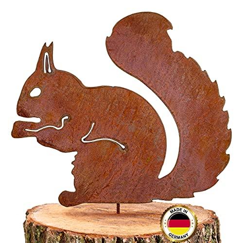 Glaskönig Rostiges Eichhörnchen sitzend - Baumstecker edelrost deko Höhe 25cm x Breite 21cm - Metall Rost Gartendeko als Eichhörnchen Figur- Rostdeko Metall Gartenstecker