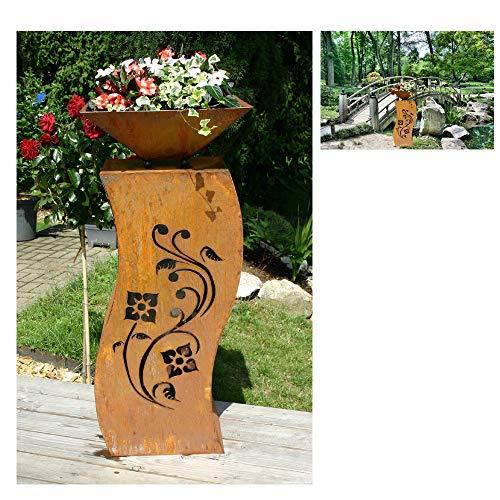 EQT-TEC Designer Garten 100 cm Rostsäule + Blumenschale Dekoration Edelrost Säule Pflanzschale