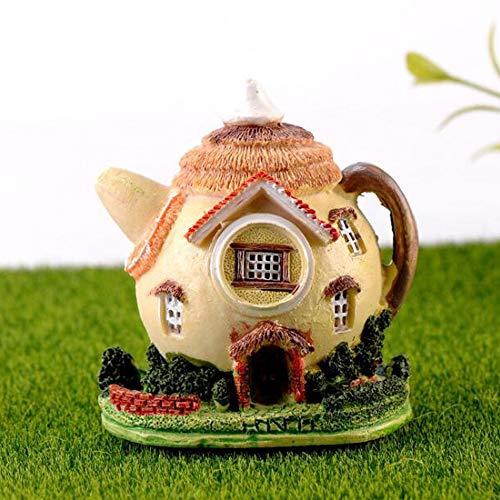 Trasfit Miniatur-Feengarten-Teekannen-Haus, Gartenbedarf, Mikro-Landschaft, Terrassendekoration, Blumentöpfe, Ornamente, Figuren – Zubehör für Heimdekoration im Freien