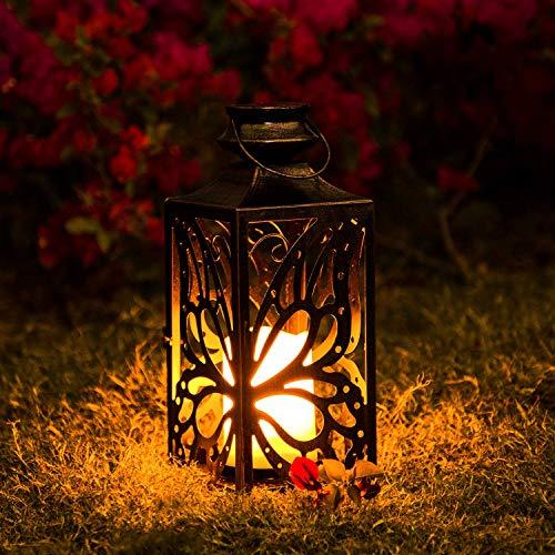 Solar Laterne,OxyLED LED Kerze und Täuschend echt Wirkenden Flacker-Effekt, IP44 Festive Light für Deko Garten(1 Stück)