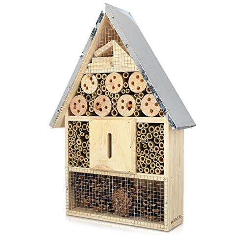 Navaris Insektenhotel aus Holz - Naturbelassenes Insekten Hotel für Fluginsekten - für Bienen Marienkäfer Schmetterlinge Fliegen - Zum Aufhängen