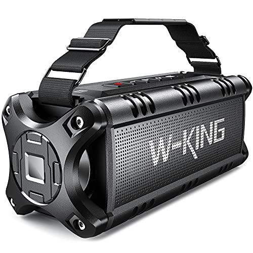 W-KING 50W Bluetooth Lautsprecher, Super Laut Outdoor Lautsprecher Wasserdicht IPX6, Druckvoller Bass Kabelloser Lautsprecher Bluetooth 5.0 mit Powerbank 8000mAh, 24h Akku, Für TWS/NFC/TF-Karten