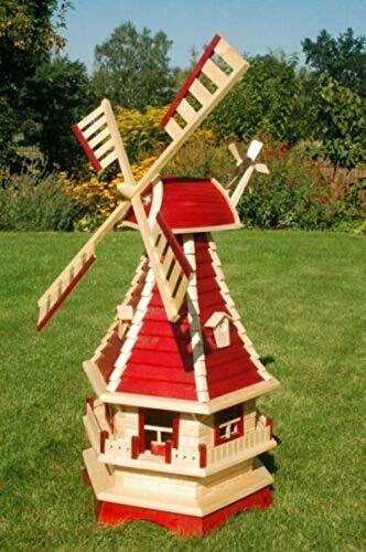 XXL Premium Solar Windmühle Holz 130cm rot kugelgelagert Garten Deko