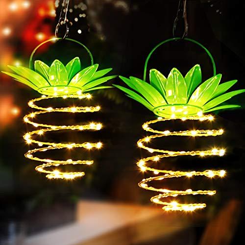Solar Laterne, Solarleuchten Garten Solarlampe Schnurlicht im Freien 60 LED hängende Ananas Solarleuchte IP65 Imprägniern Dekorative Solarlaternen im Freien für Garten,Yard -Warmes Licht-2pack