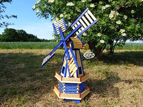 Große Holz-Windmühle wetterfest, kugelgelagerte windmühlen, Gartenwindmühle 130 cm, zweistöckig MIT 2 BALKONEN, garten windmühlen, Windfahne / Windrad o. SOLAR o. Außenbeleuchtung WMH130bl-OS 1,30 m