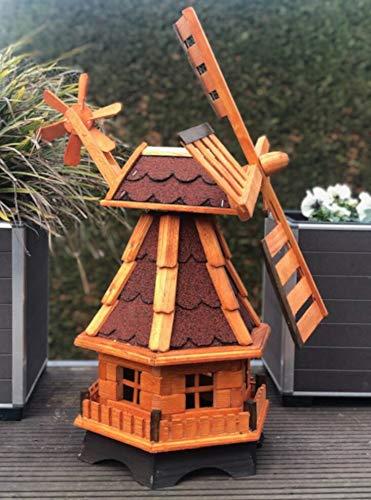 Darlux Sechseck Garten-Windmühle aus Holz kugelgelagert Braun in Höhe 70 cm (Windmühle L, Braun/Rot)
