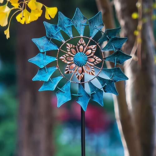 Windrad für draußen - Windspiel aus Metall - Einzelblatt Windrad - leicht drehend - Gartenpflock - ideal für Terrasse und Garten - wetterfestes Gartendeko - standfest - Modell: Smaragd 155 cm blau