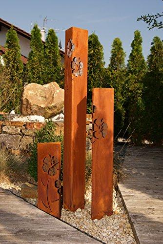 JH-Metalldesign Säulenset Hibiskus Edelrost Säule Set Rost Garten Dekoration Stele