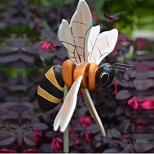 goodjinHH Gartendeko,Holz Bee-Windrad,Windmühlen Garden Bienen Windskulptur,Bunt Windmühle Windradfolie,für Gartendeko Outdoor Deko Gartenkunstdekoration Rasen Dekoration (35cm*30cm)