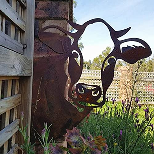 Metall Gartenfigur Rostoptik Cow Baumstecker, Cow Figur Gartendeko Rost Figur Statue für Outdoor, Garten, Hof, Metall Rost Gartenstecker, Höhe 28cm x Länge 29cm (Cow)