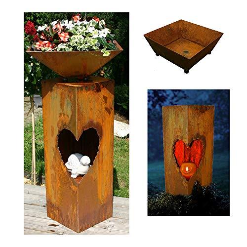 EQT-TEC Designer Garten 90cm Rostsäule + Blumenschale Dekoration Edelrost Säule Pflanzschale zb für Kerzen