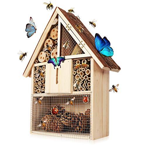 Keweni Insektenhotel Gartendeko, Groß Insektenhaus für Bienen Nistkasten Brutkasten, Naturbelassen und Wetterfest zum Insektenhotel