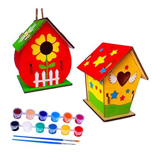 Holz Vogelhaus 2 Stück Nistkästen Vogelhaus Bausatz Vogelhäuser DIY Bird House Kit Vogelhaus Set Machen Sie kreative Spielzeuggeschenke für Geburtstag und Festival,Enthalten Pinsel + Lanyard