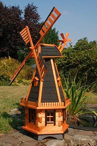 Deko-Shop-Hannusch Große Windmühlen mit Solarbeleuchtung - Höhe 1,30 oder 1,45 Meter, Farbe|Größe:1.45m dunkel Solar