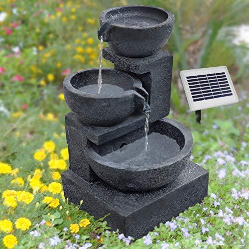 AMUR GARTENBRUNNEN BRUNNEN Solar BRUNNEN ZIERBRUNNEN VOGELBAD Wasserfall GARTENLEUCHTE TEICHPUMPE - SPRINGBRUNNEN WASSERSPIEL für Garten, Gartenteich, Terrasse, Teich, Balkon, VERBESSERTES Modell