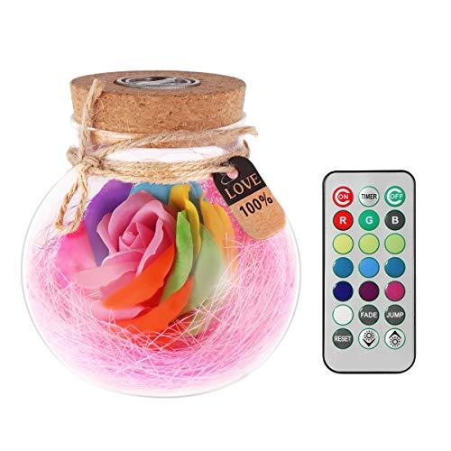 VORCOOL Ewig Blumen Flasche LED Nachtlicht Glasflaschen mit Fernbedienung gute Geschenk für Valentinstag Muttertag Jubiläum Geburtstag Hochzeit (Rosa)