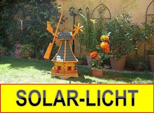 Windmühle Solar Premium XXL Holz massiv, wetterfest,robust mit Bitumen, MIT WINDFAHNE Windrad-Seitenruder, Windmühlen Garten, imprägniert + kugelgelagert 1,30 m groß grün grüngrau moosgrün, mit SOLAR