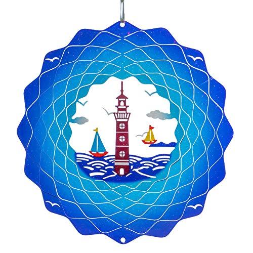 CIM Metall Windspiel – Rainbow Lighthouse Blue - 200mm - leichtdrehendes Windmobile mit brillanten Farben- inklusive Aufhängung – attraktive Raum- Fenster und Garten-Dekoration - Geschenkidee