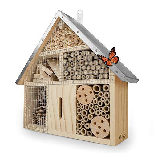 WILDLIFE FRIEND I Insektenhotel mit Metalldach - unbehandelt, Insektenhaus aus Naturholz für Bienen, Marienkäfer, Florfliegen & Schmetterlinge, Bienenhotel & Nisthilfe zum aufhängen