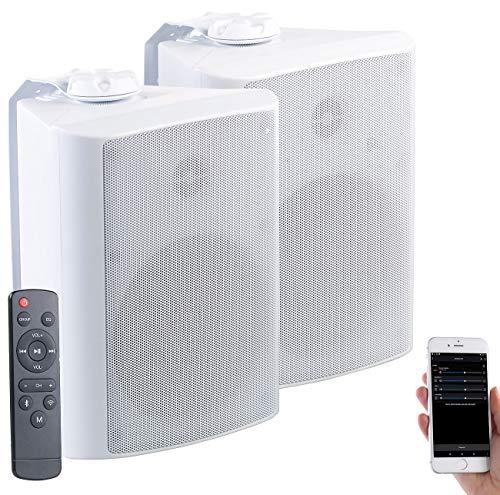 auvisio WLAN Außenlautsprecher: Aktiv-Multiroom-Stereo-Außen-Lautsprecher, WLAN, Bluetooth, 120W, IP55 (WLAN Lautsprecher für Terrasse)