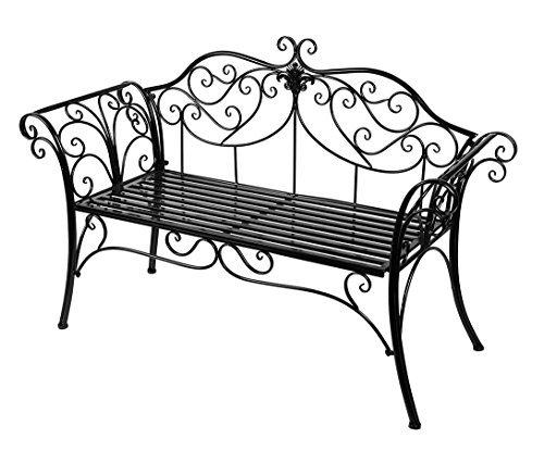 HLC Gartenbank aus Metall, Antik-Optik, für den Garten, Doppel-Sitzfläche, mit dekorativer gusseiserner Rückenlehne schwarz