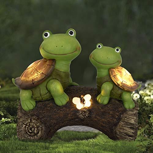 LA JOLIE MUSE Gartendeko Gartenfigur - 26cm Froschgesicht Schildkröten Harzskulptur mit Solar LED Lichtern für die Innen- und Außennutzung, Terrassen- und Gartendeko, Ornament für die Wiese