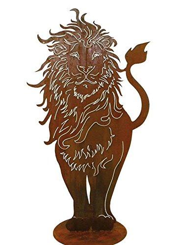 Klocke Edelrost Dekor XL Gartenfigur in Rostoptik - Sehr Großer Metall Löwe/Löwendekoartion - Höhe 130cm - Rost Dekoration/Dekolöwe für Garten/Dekoelement