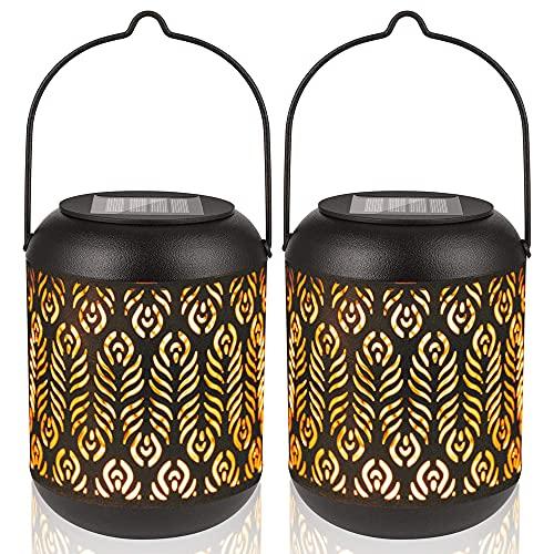 LeiDrail Solarlaterne für Außen 2 Stück LED Hängende Solarlampe Wasserdicht Gartenlaterne Laternen für Garten Terrasse Balkon Weg Dekoration