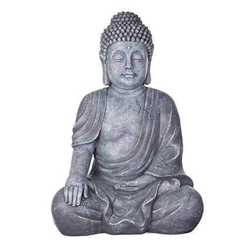 Buddha B4016S Steingrau, Buddha Figur XL 54cm hoch Buddha Statue groß, Büste, Gartendekoration, Wetterfest (nicht frostsicher) aus Kunststein (Polyresin) sehr aufwendig per Hand bemalt, sehr feine Strukturen (Steingrau)