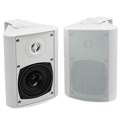 Herdio 4 Zoll Bluetooth Wasserdicht Außenlautsprecher Outdoor-Lautsprecher für Garten, Terrasse, Restaurant (200 Watt) weiß