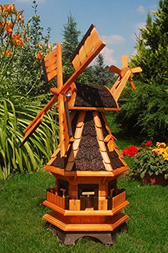 Windmühle aus Holz, kugelgelagert 1,0 m Bitum dunkel mit Beleuchtung Solar, Solarbeleuchtung, mit extra Windrad hinten am Kopf, imprägniert, Kugellager einstellbar, Gartenwindmühle, Windmühlen