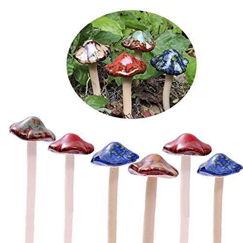 Bunte Gartenpilze, Fairy Garden Pilz Toadstool Keramik [ 4 Farbe 6 Stücke ] Garten Töpfe Dekoration Keramik Ornament für DIY Dollhouse Potting Shed Blumentopf Pflanzen Statue
