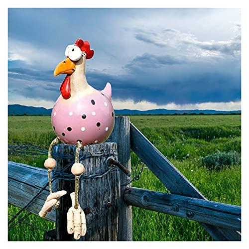 Gartenhühnungsstatuen, Gartenstecker Keramikfigur, Hühnergarten Rasenstecker, Gartenstecker Keramik Chicken Yard Art Decor Rand Snorter Indoor Outdoor Backyard Dekorationen ( Color : Pink )